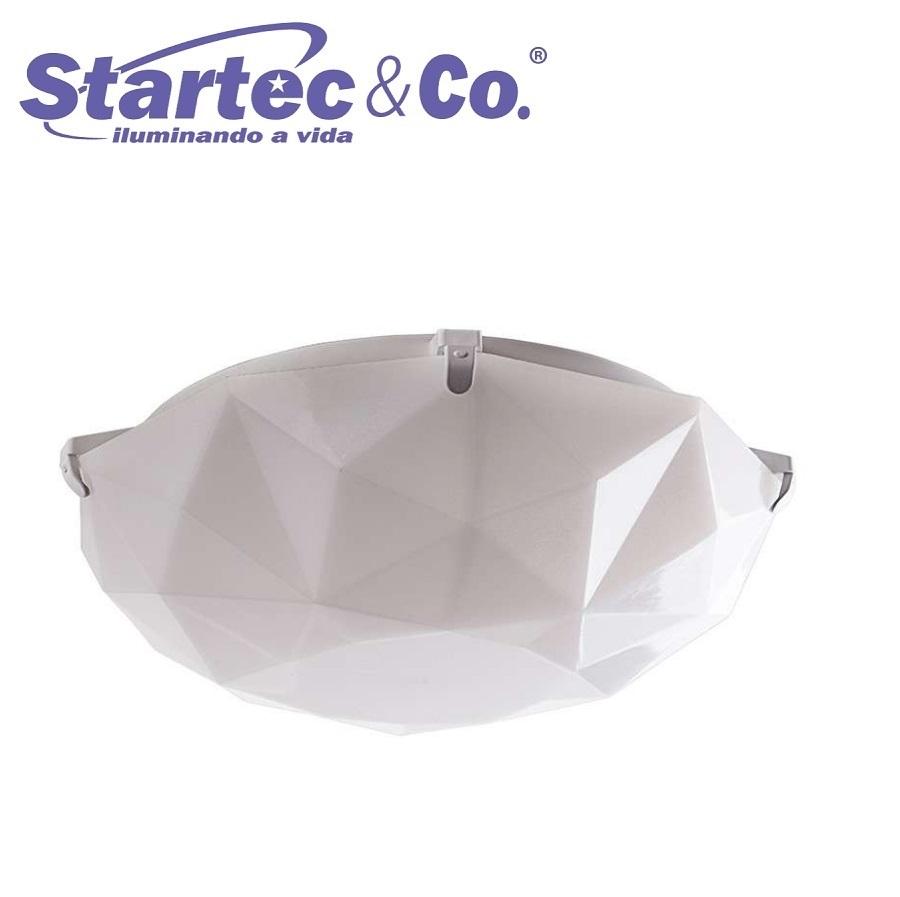 KIT 3 Luminárias Lustre Plafon Sides M3 Branco E27 P/ Cozinha, Banheiro, Quarto Startec