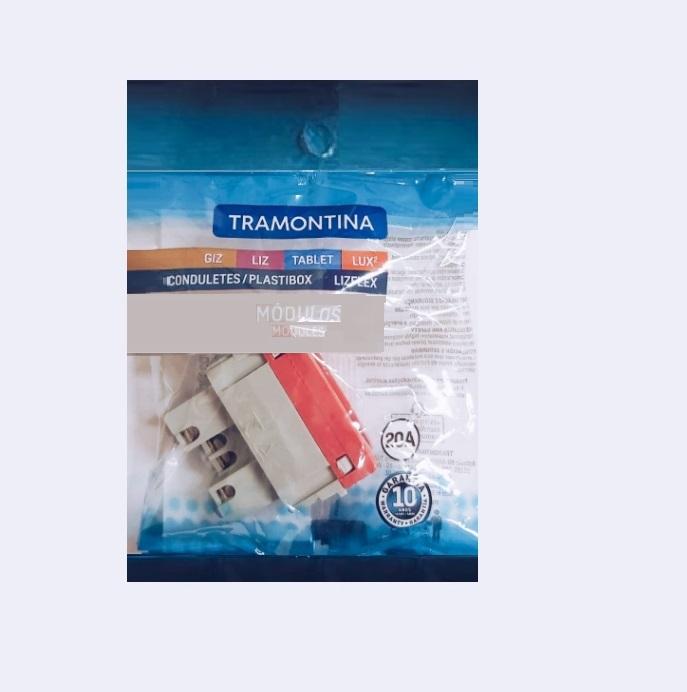 KIT 3 Módulos Tomada 2P+T 20A  Vermelha Tramontina  7115/033