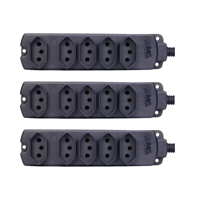 kIt 3 Tomadas Barra Multipla/Regua p/Extensão 10A/20A Caixa Plástica Preta