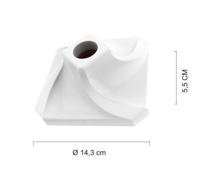 KIT 5 Plafonier Spiralle  Plafon Quadrado Soquete E27 Bocal Porcelana