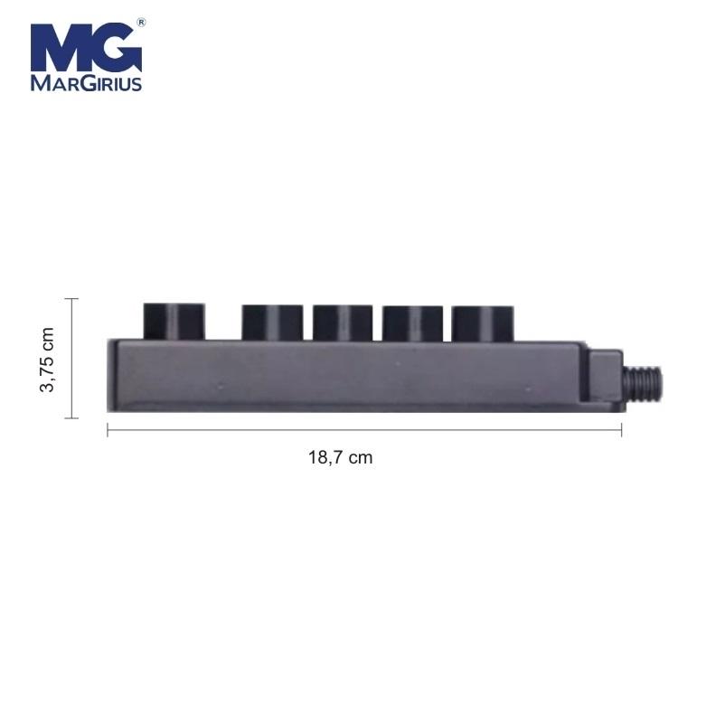 kIt 5 Tomadas Barra Multipla/Regua p/Extensão 10A/20A Caixa Plástica Preta