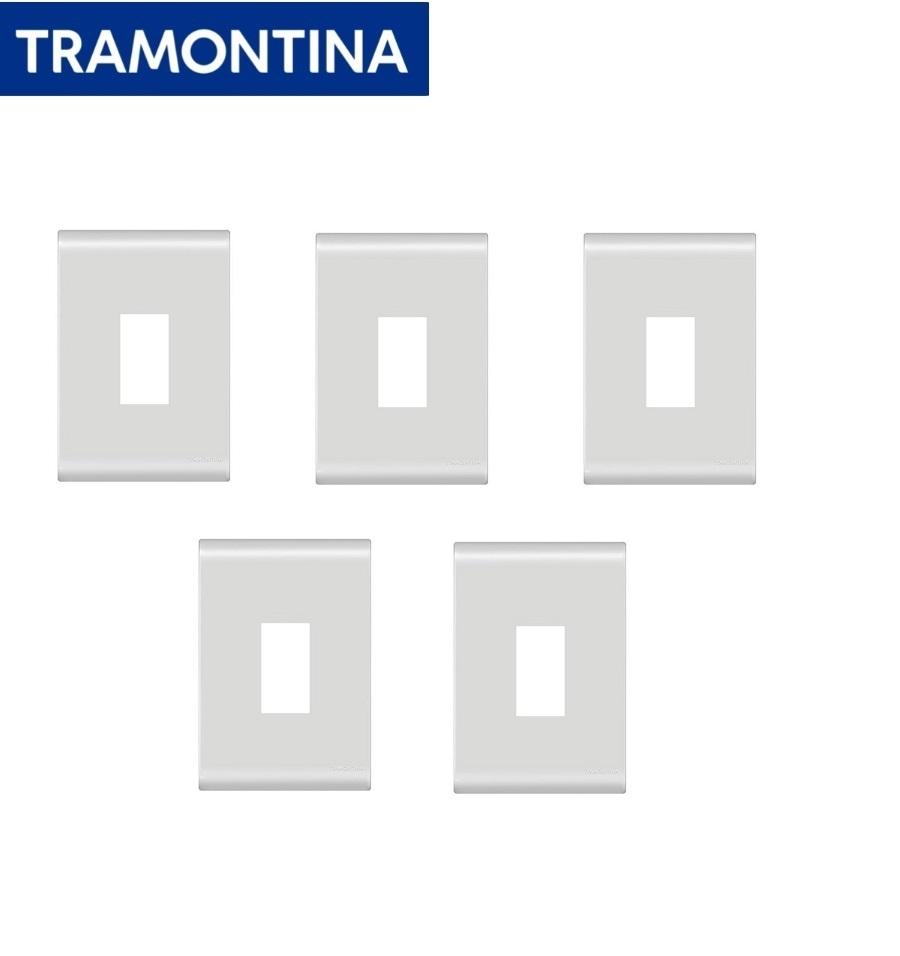 KIT Com 5 Placas 1 posto Vertical 4 x 2 Branca Tramontina Liz