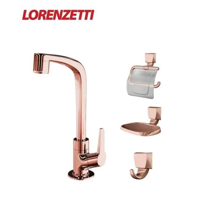 Kit  Para Banheiro Com 4 Peças Lorenzetti Torneira e Acessórios  Rose Gold