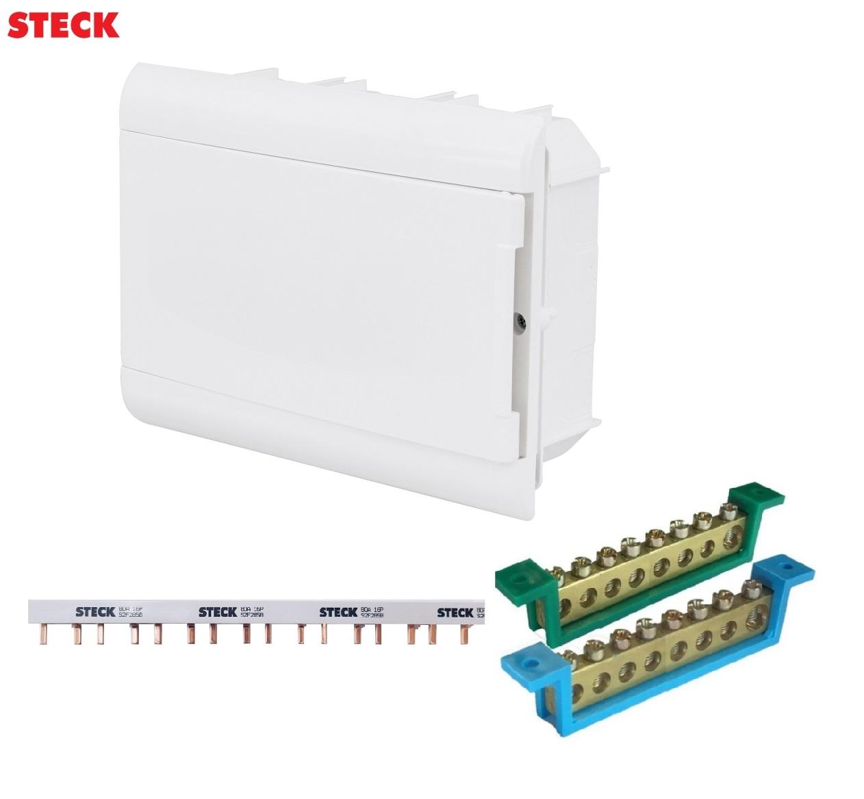 Kit Quadro Distribuição Steck 16 Disjuntores + Barramento Pente Bifásico, Neutro e Terra