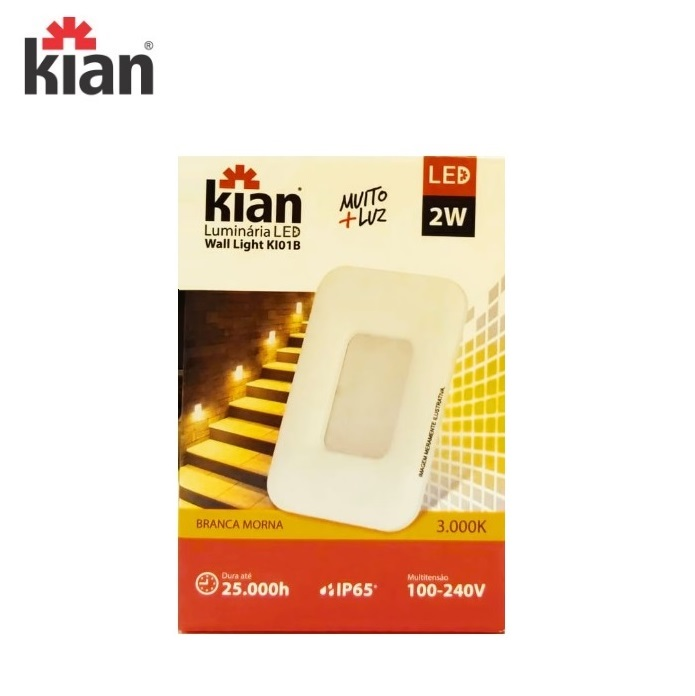 KIT 3 Luminárias Led  Kian Wall Light Embutir Parede 2W 3000K
