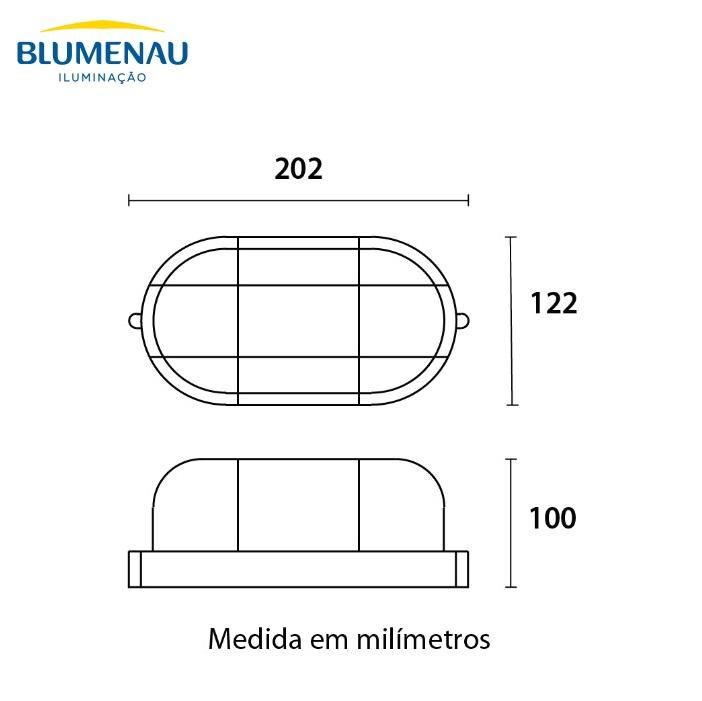Luminária Tartaruga Blumenau Clean E27 Preta Sem Lâmpada