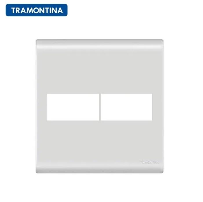 Placa 2 Postos  Tramontina  4x4  Liz  57106/023 Branca