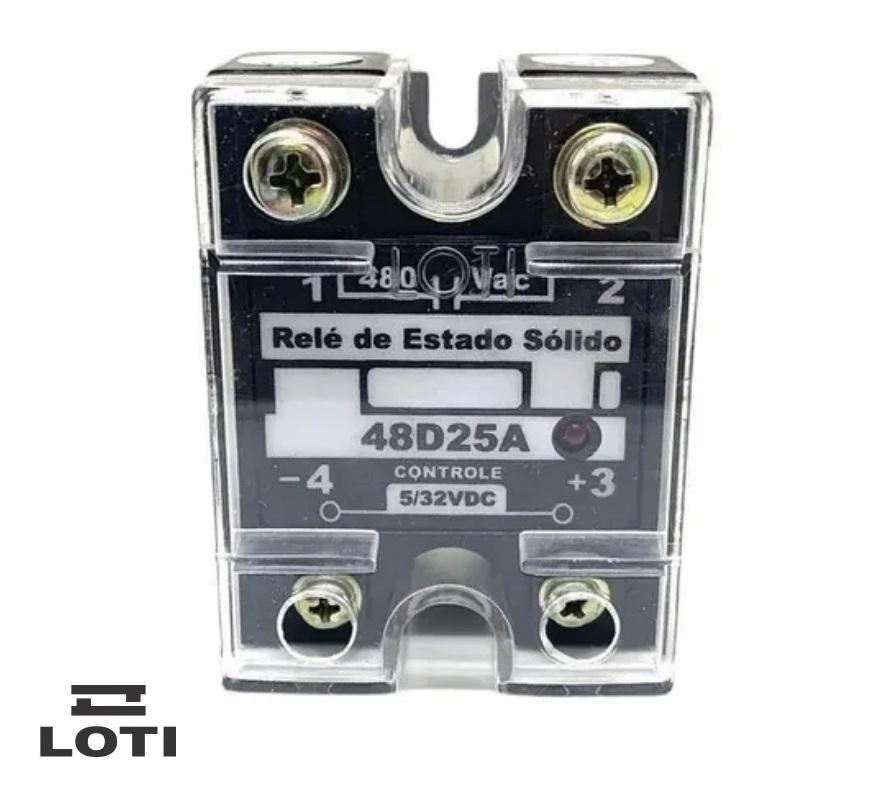 Rele de Estado Sólido Loti 48D25A - 25A- 480vac - Controle 5/32VDC