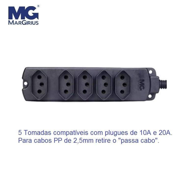 Tomada Barra Multipla/Regua p/Extensão 10A/20A Caixa Plástica Preta 5 Tomadas