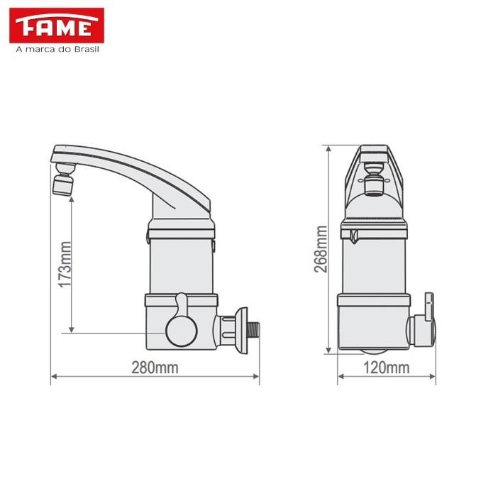 Torneira Elétrica Fame Elegance 4T de Parede 220V 5400W Branca