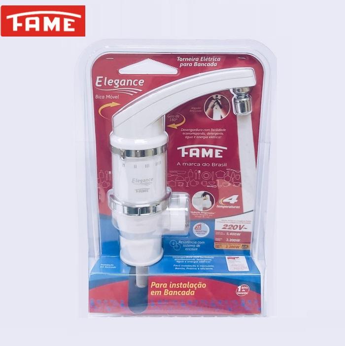 Torneira Elétrica Fame Elegance 4T de Bancada 220V 5400W Branca