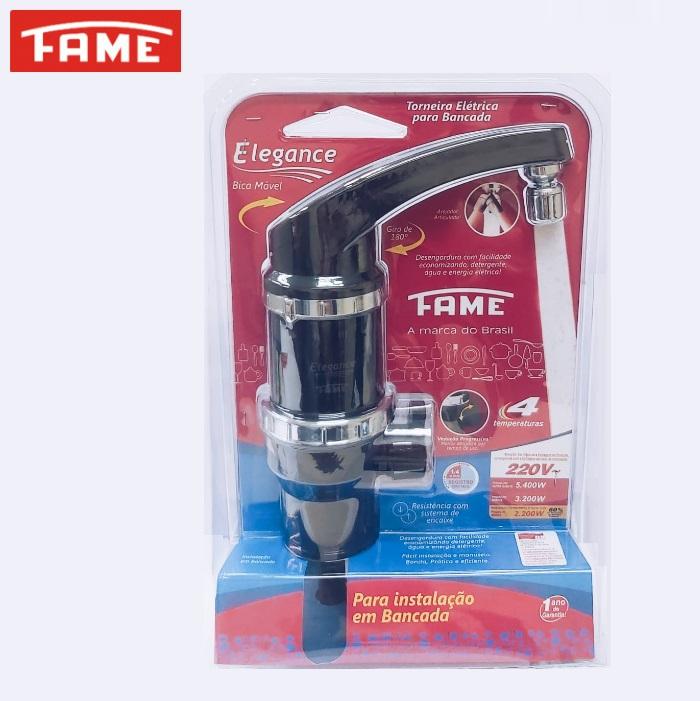 Torneira Elétrica Fame Elegance 4T de Bancada 220V 5400W Preta