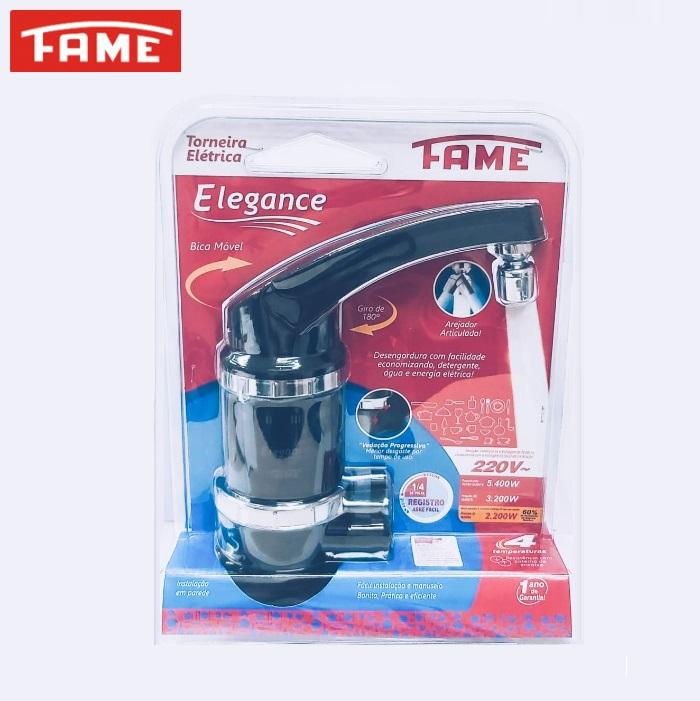 Torneira Elétrica Fame Elegance 4T de Parede 220V 5400W  Preta