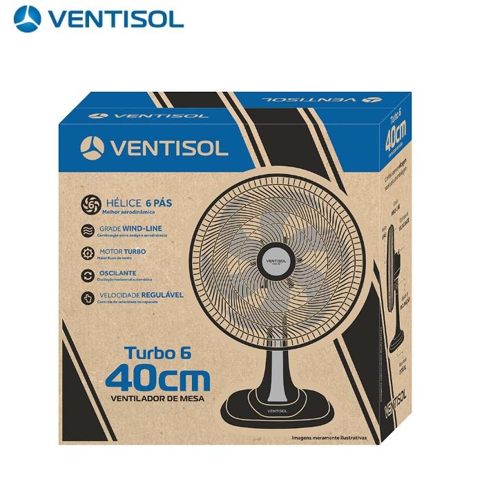 Ventilador de Mesa  Ventisol Turbo 40cm Preto com 6 Pás Oscilante Cinza