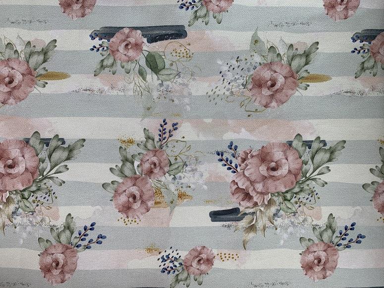 Tecido Aquarela Flores e Listras- Sarja