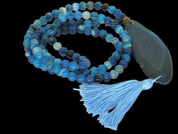 Japamala De Ágata Azul Netuno Ho'oponopono Imperdivel