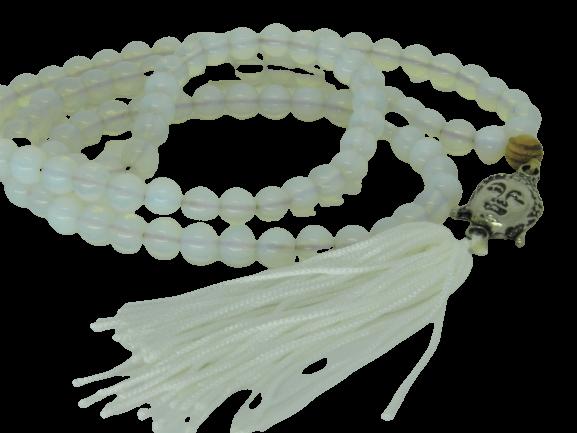 Japamala Jade Branca Pedras Naturais Meru Buda Tassel Seda