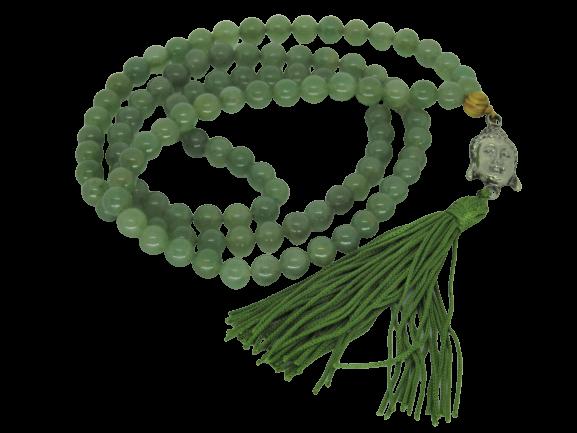 Japamala Jade Verde Pedra Natural 108 Contas Meru Buda