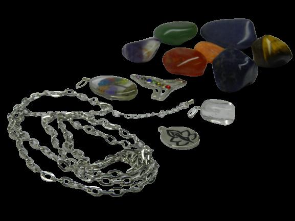 Kit Pedras Dos 7 Chakras Semi Preciosas Colar e Pingentes