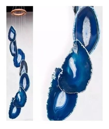 Mensageiro Sino Dos Ventos Móbile Ágata Azul 7 Pedras