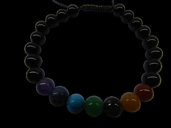 Pulseira Com Esferas De Ônix + 7 Pedras Naturais Dos Chacras