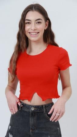 T-shirt Ribbed Frills Vermelho