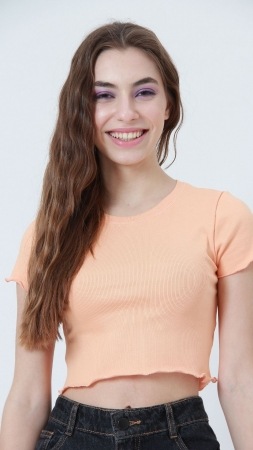 T-shirt Ribbed Salmão
