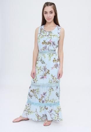 Vestido Longo Trabuca Estampado Floral Azul