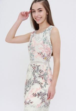 Vestido Longo Trabuca Estampado Floral Off White