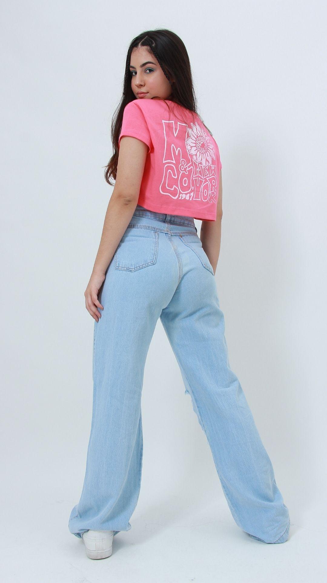 Calça Jeans Wide Leg Destroyed  - Metro & Co.