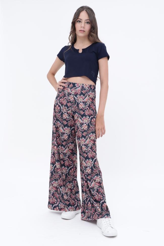 Calça Pantalona Paisley  - Metro & Co.