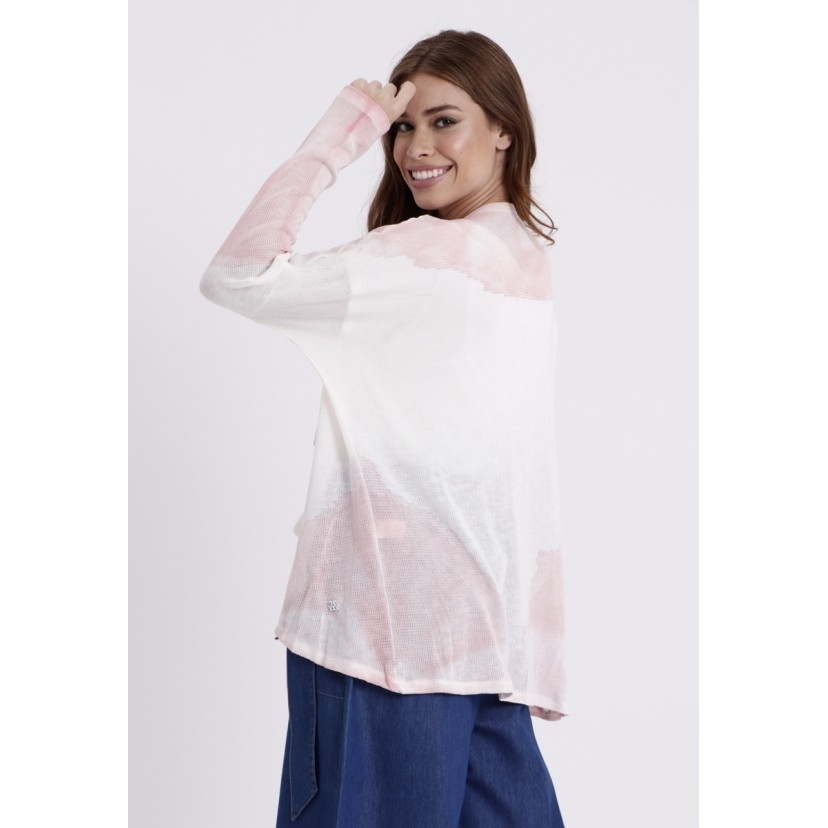 Cardigan Longo Tricot Tie Dye Goyah Rosa  - Metro & Co.