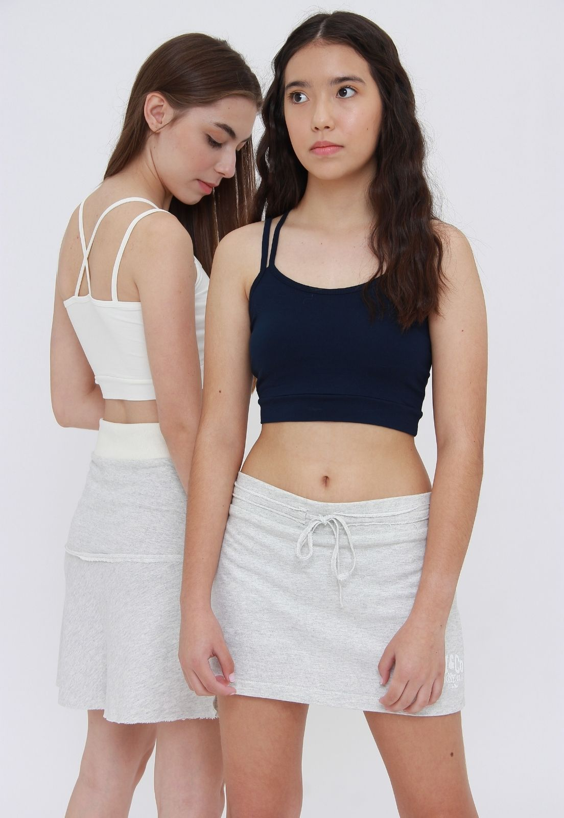 Kit 2 Tops Cropped Azul & Off  - Metro & Co.