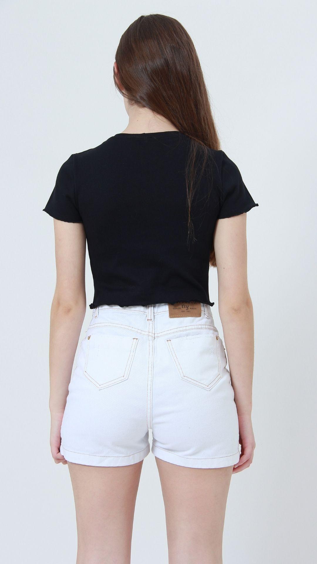 T-shirt Ribbed Frills Preto  - Metro & Co.