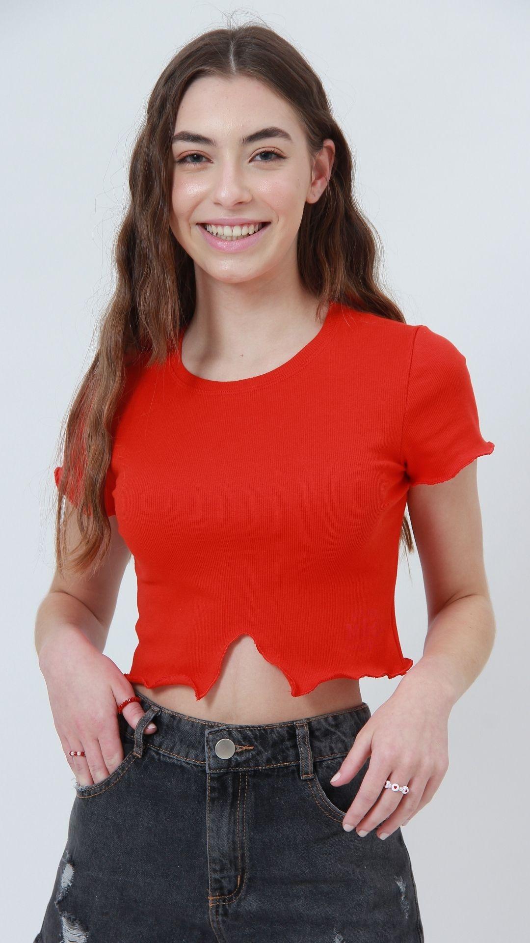 T-shirt Ribbed Frills Vermelho  - Metro & Co.