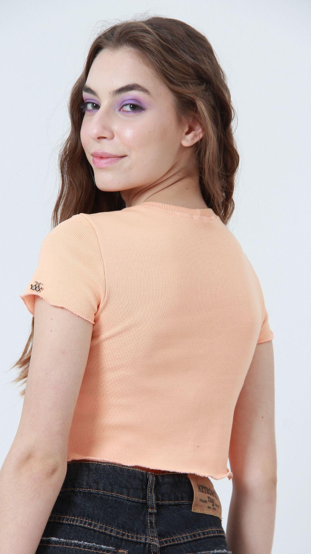 T-shirt Ribbed Salmão  - Metro & Co.