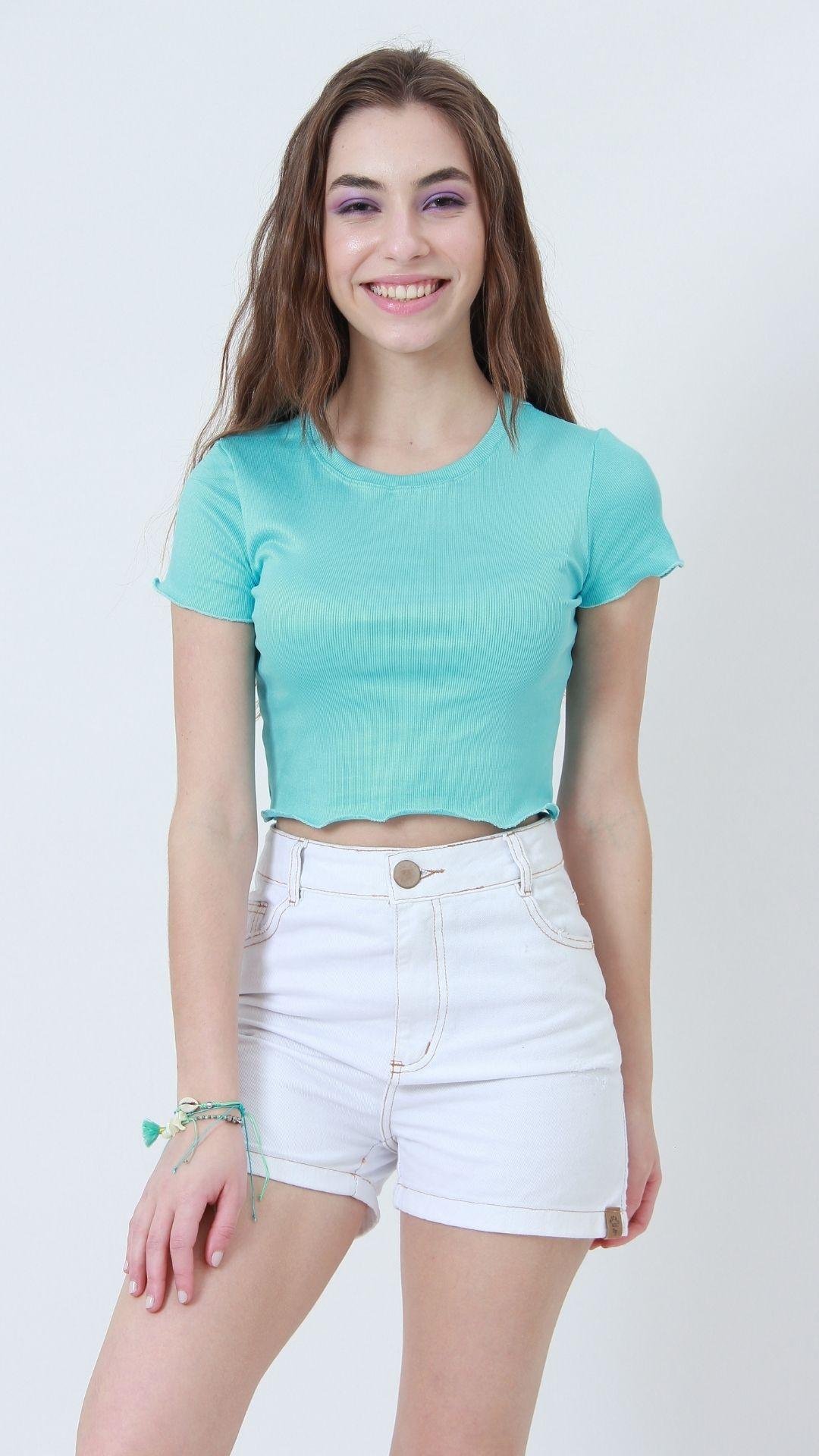 T-shirt Ribbed Turquesa  - Metro & Co.