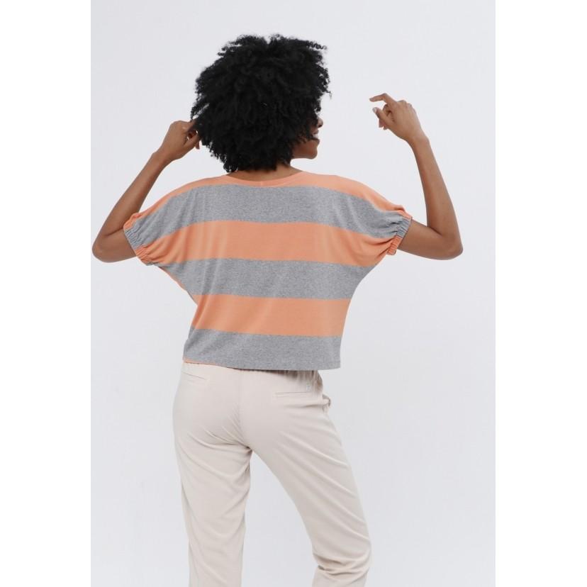 T-Shirt Tribeca Listra Cinza e Laranja  - Metro & Co.