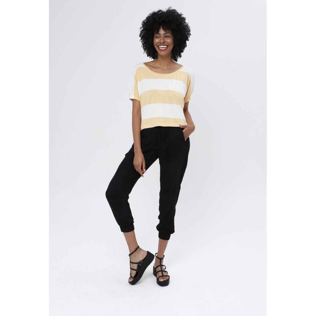 T-Shirt Tribeca Listra Off e Amarelo  - Metro & Co.