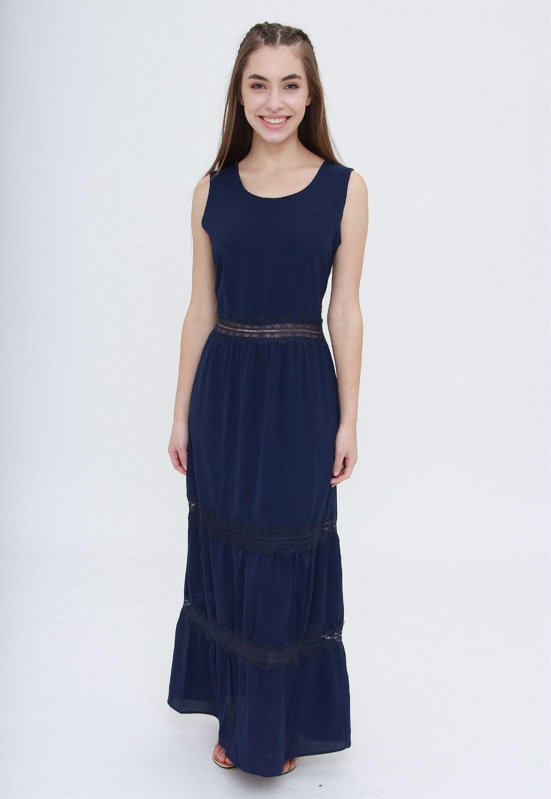 Vestido Longo Trabuca Azul  - Metro & Co.