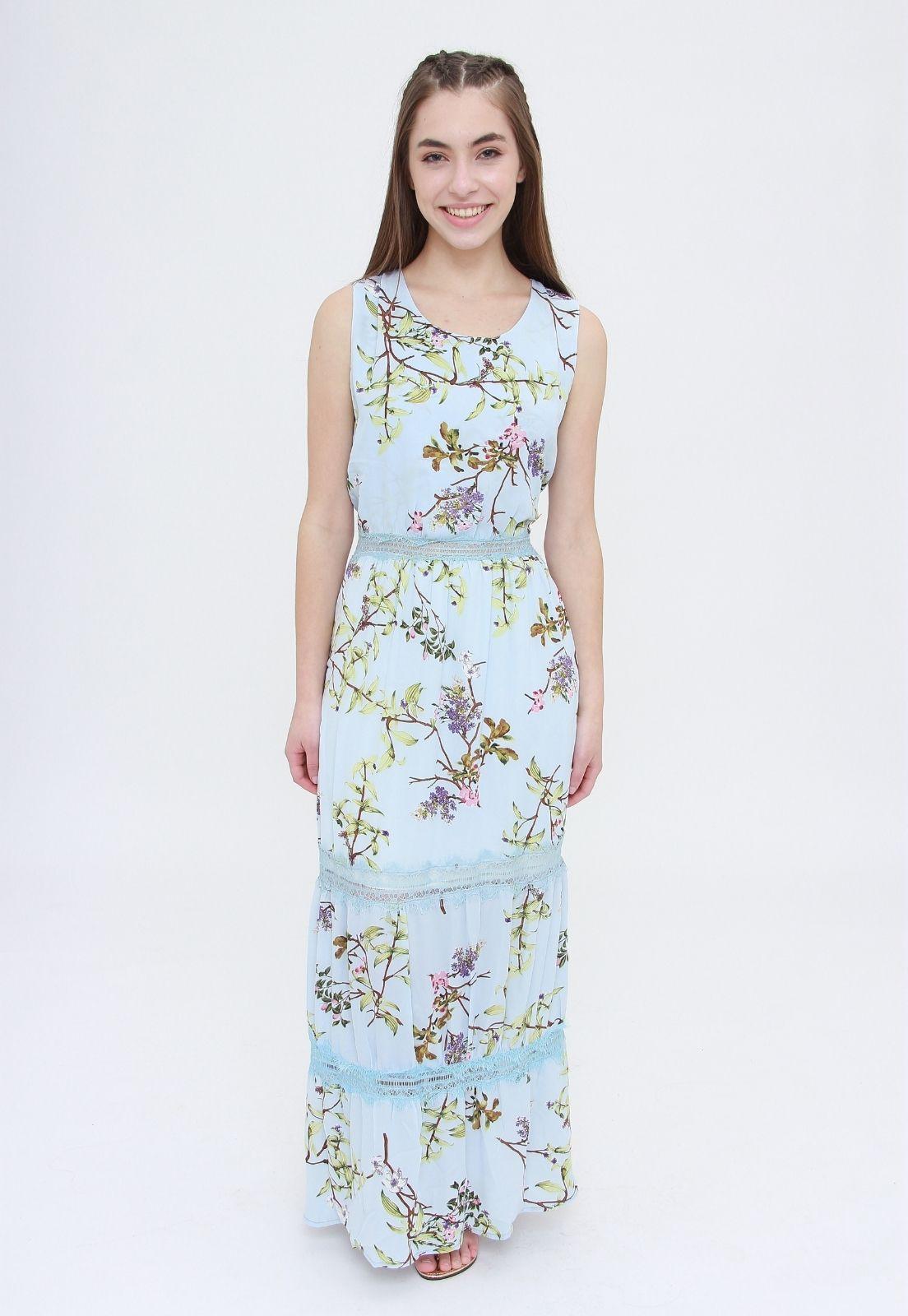 Vestido Longo Trabuca Estampado Floral Azul  - Metro & Co.