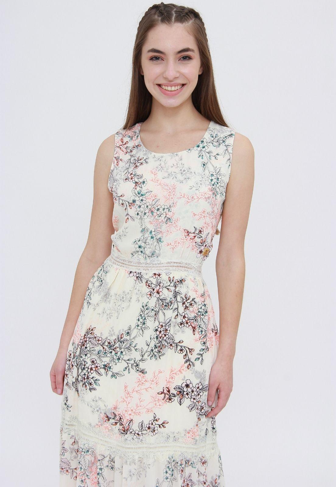Vestido Longo Trabuca Estampado Floral Off White  - Metro & Co.