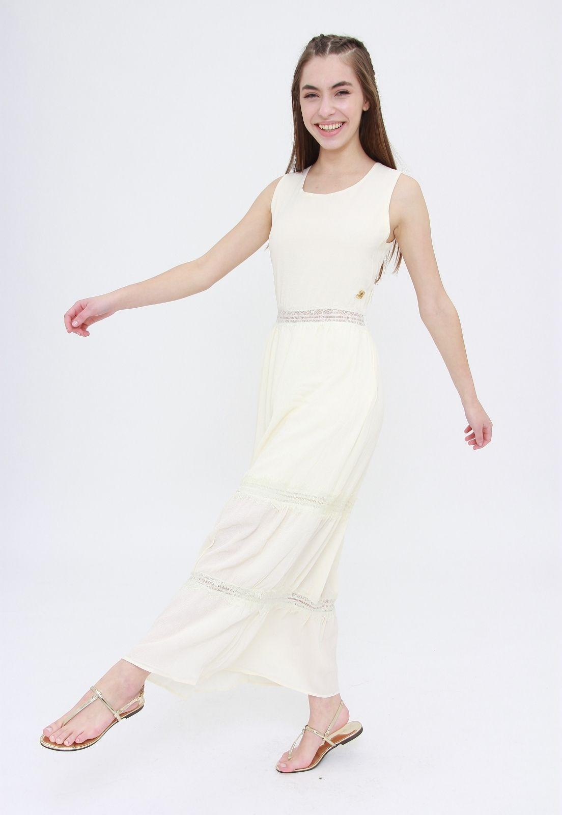 Vestido Longo Trabuca Off White  - Metro & Co.
