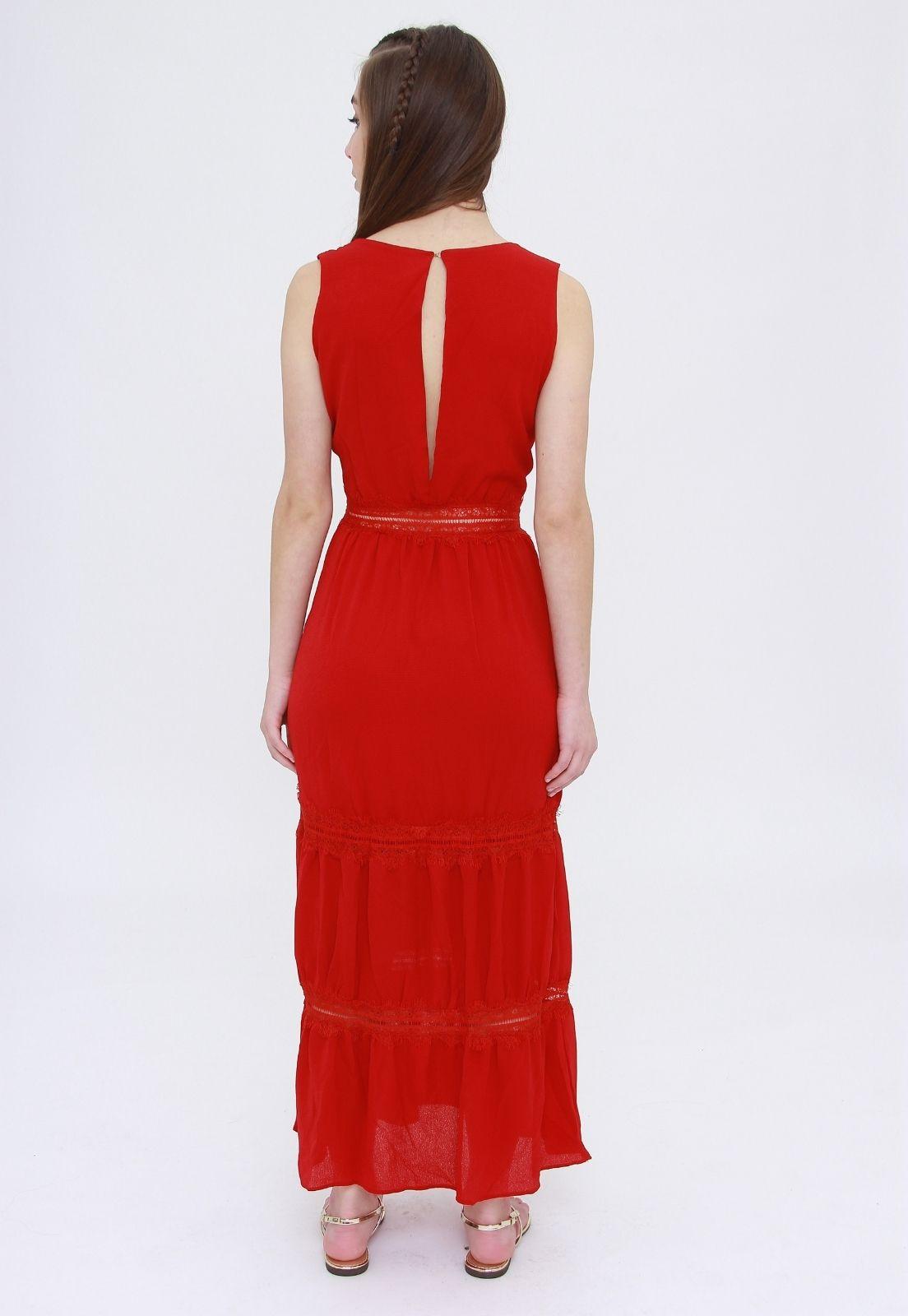 Vestido Longo Trabuca Vermelho  - Metro & Co.