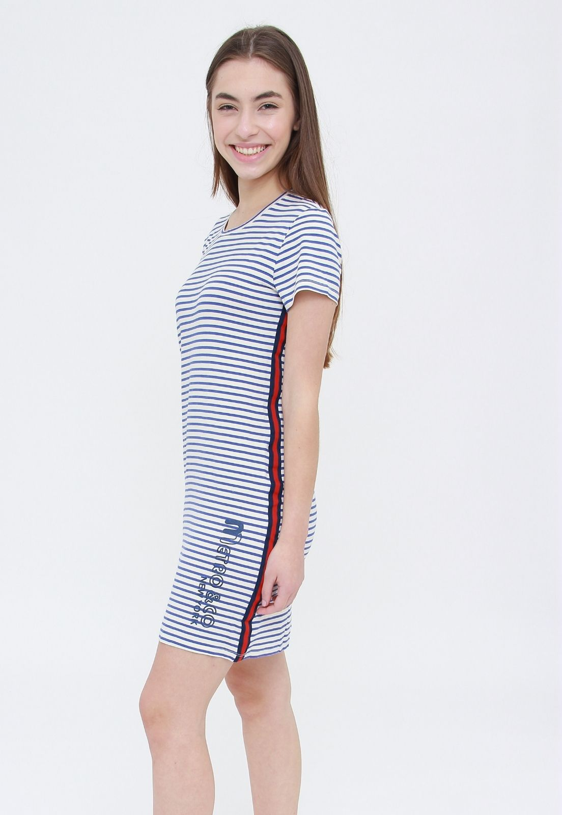 Vestido Tee Blue Stripes  - Metro & Co.