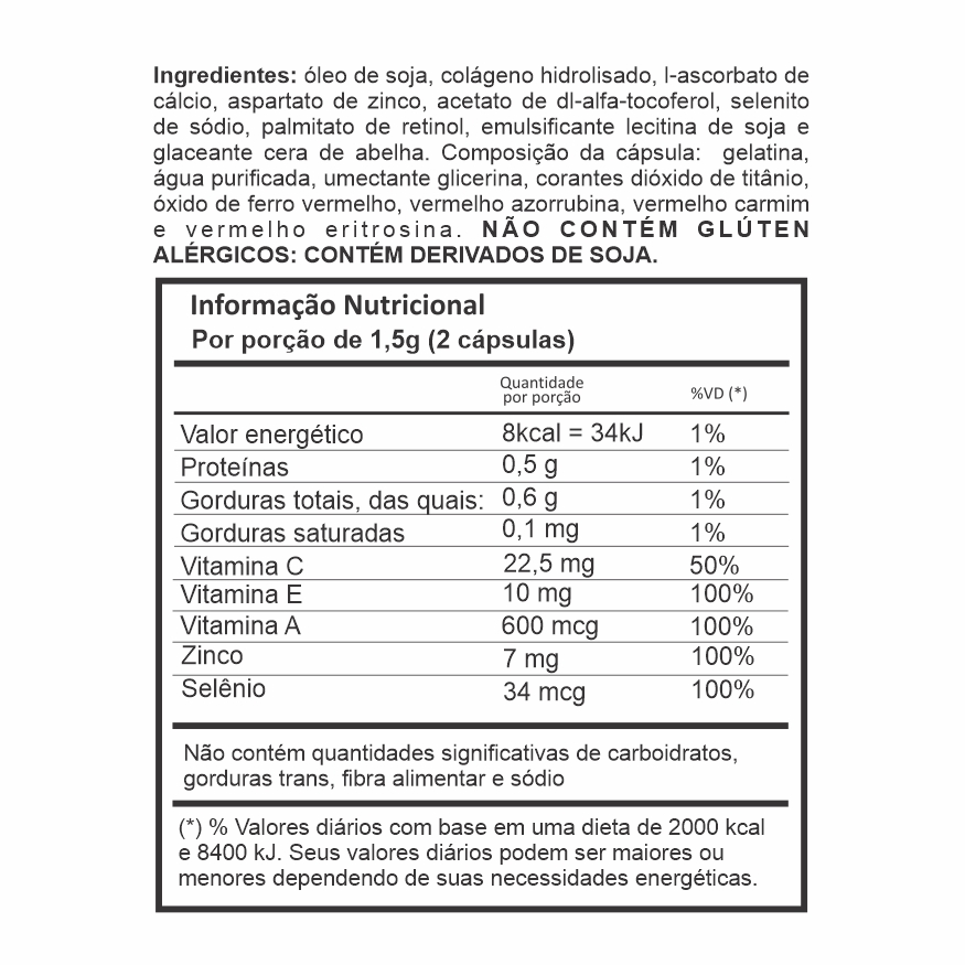 Colágeno Hidrolisado + Vitaminas - 60 cápsulas