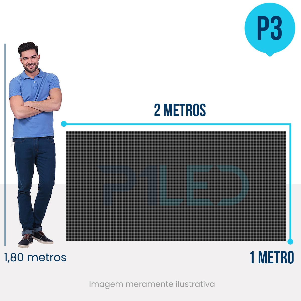 Painel de LED para Fachada 2x1 - Telão P3 Outdoor  - Painel e Telão de LED - O Melhor Preço em Painel de LED | P1LED
