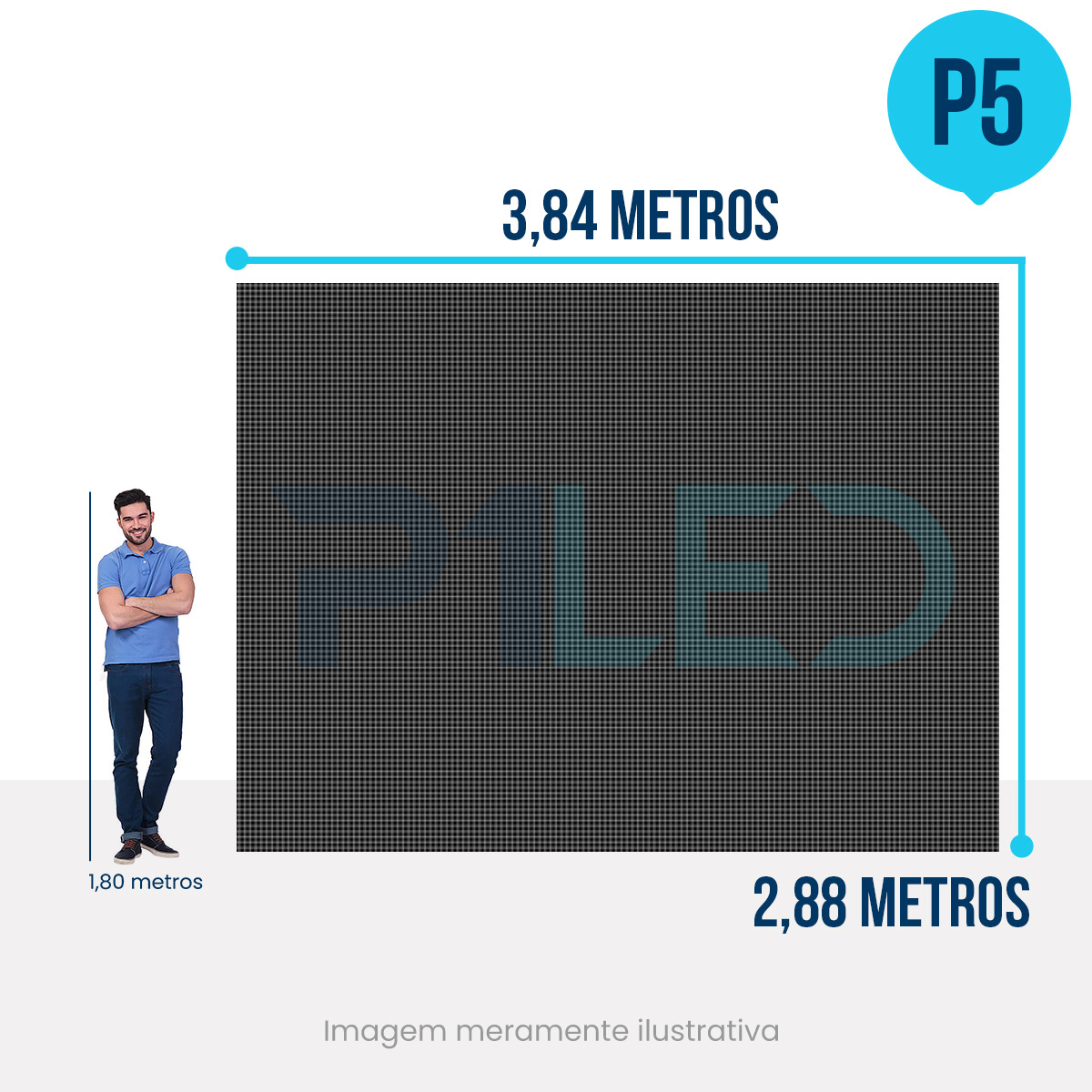 Painel de LED para Igreja 3,84 x 2,88 - Telão P5 Indoor  - Painel e Telão de LED - O Melhor Preço em Painel de LED | P1LED