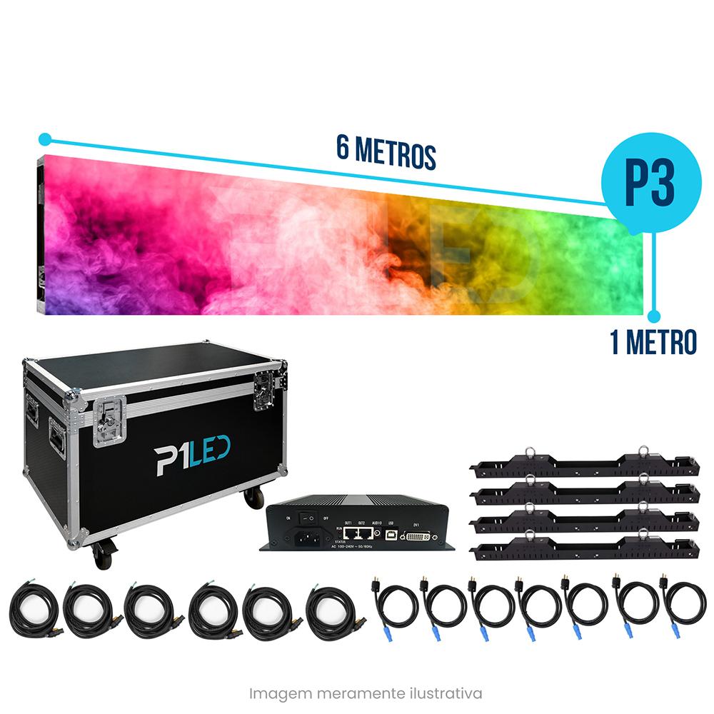 Painel de LED para Padaria 6x1 - Telão P3 Indoor  - Painel e Telão de LED - O Melhor Preço em Painel de LED | P1LED