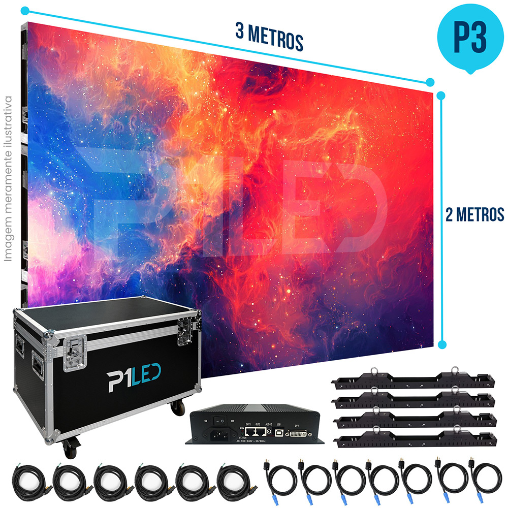 Painel de LED para Shopping 3x2 - Telão P3 Indoor  - Painel e Telão de LED - O Melhor Preço em Painel de LED | P1LED